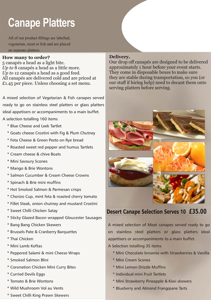 hedleys buffet canape platters menu