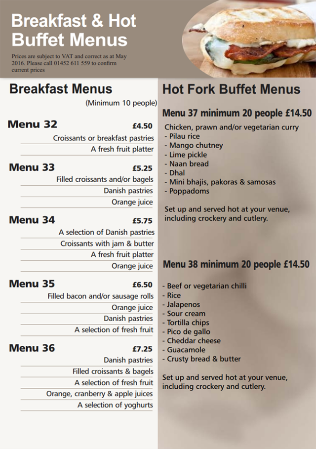 Hedleys breakfast menus buffet catering sandwich bar for Canape buffet menus